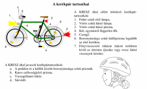 A kerékpár kötelező tartozékai a KRESZ szerint.