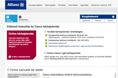 Allianz biztosító kárbejelentés