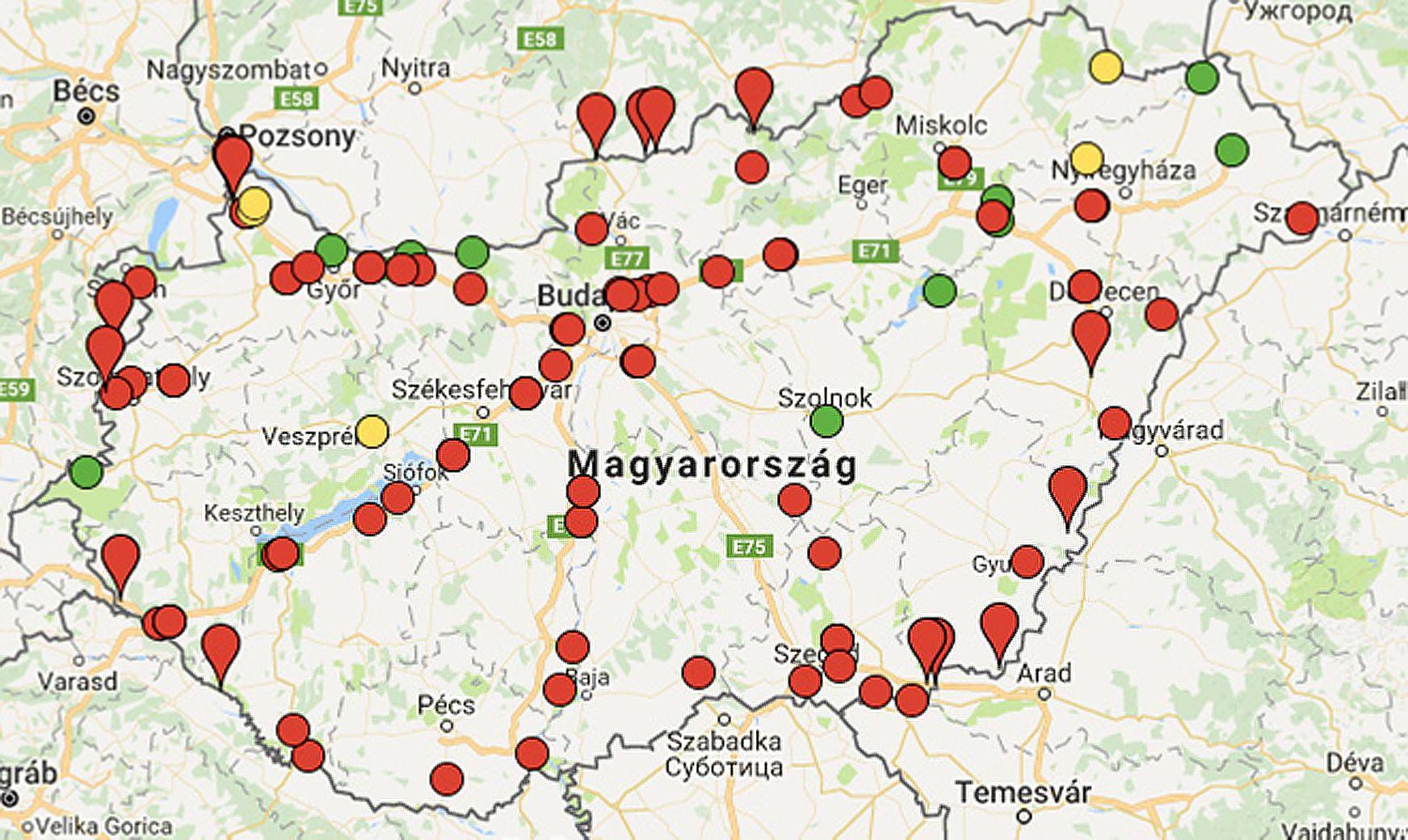 súlymérő pontok térkép Automata tengelysúly mérési TSM pontok. Hol bírságolnak