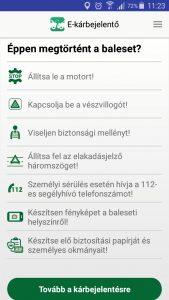 A baleseti kárbejelentő mobilapplikáció működésének leírása.